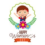 Cute girl smiling round frame flowers happy womens day poster Royalty Free Stock Photos