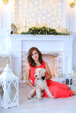 Cute girl smiling, sitting on floor and dog on background of fir royalty free stock images