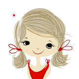 Cute girl smiling, sketch for your design Royalty Free Stock Photo