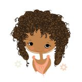 Cute girl smiling, sketch for your design Royalty Free Stock Images