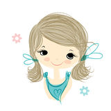 Cute girl smiling, sketch for your design Royalty Free Stock Photos