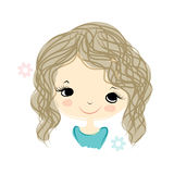 Cute girl smiling, sketch for your design Stock Photos