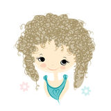 Cute girl smiling, sketch for your design Royalty Free Stock Photography