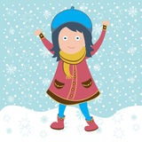 Cute girl in snow Stock Photos