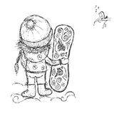 Cute girl with snowboard, sketch for your design Royalty Free Stock Photos