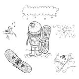 Cute girl with snowboard, sketch for your design Royalty Free Stock Image