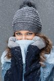 Cute girl with snowflakes having a good time Stock Photo
