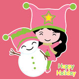 Cute girl and snowman  cartoon, Xmas postcard, wallpaper, and greeting card Royalty Free Stock Photo