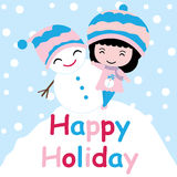 Cute girl and snowman on snow hill  cartoon, Xmas postcard, wallpaper, and greeting card Royalty Free Stock Photos