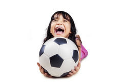 Cute girl with soccer ball Royalty Free Stock Photo