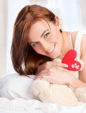 Cute girl with soft bear toy Royalty Free Stock Photo