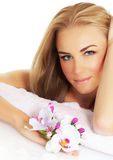 Cute girl in spa salon Royalty Free Stock Image