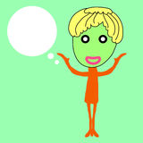 Cute girl with speech bubble stock illustration