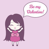 Cute girl and speech bubble with text. On pink background. Stock Photography