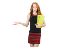 Cute girl in squared dress holding paper isolated Royalty Free Stock Images