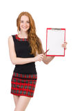 Cute girl in squared dress holding paper isolated Royalty Free Stock Image
