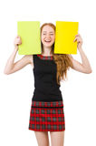 Cute girl in squared dress holding paper isolated Stock Photos