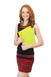 Cute girl in squared dress holding paper isolated Royalty Free Stock Photos