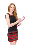 Cute girl in squared dress holding paper isolated Stock Image