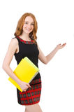 Cute girl in squared dress holding paper isolated Stock Images