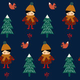 Cute girl with squirrel walking in winter forest seamless pattern. On dark blue background. Scandinavian style nature illustration. Winter forest with baby Royalty Free Stock Photo