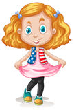 Cute girl standing alone.  illustration Royalty Free Stock Photos