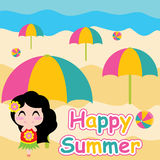 Cute girl is standing besides umbrella on beach  cartoon, summer postcard, wallpaper, and greeting card Stock Images