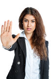 Cute Girl with stop hand Stock Photo