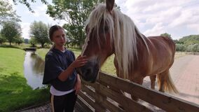 Cute girl stroking a  horse head.  Children cares for a animals  in the animal farm