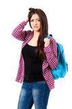 Cute girl student with bag. Isolated on white background Royalty Free Stock Image