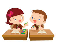 Cute girl student giving for friend. Vector of Cute girl student giving pencil for friend in classroom illustration cartoon isolete Royalty Free Stock Photo