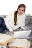 A cute girl studying. Royalty Free Stock Images