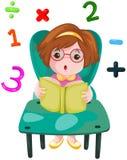 Cute girl studying mathematics Stock Photo