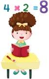Cute girl studying mathematics stock illustration
