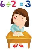 Cute girl studying mathematics vector illustration