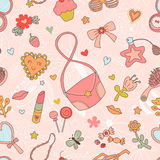 Cute girl stuffs seamless pattern Royalty Free Stock Images