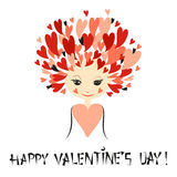 Cute girl with stylized hair as hearts. Valentines day vector Stock Photography