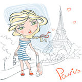 Cute girl with a suitcase on background of the Eiffel tower. A romantic trip to France.  Vector illustration in cartoon style Royalty Free Stock Photography