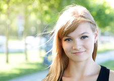 Cute girl in the sun light.  stock photo