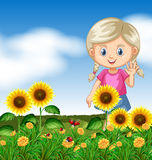 Cute girl in sunflower garden. Illustration Stock Photography
