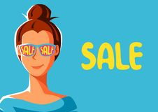 Cute girl in sunglasses with sale. Illustration of young woman character Royalty Free Illustration