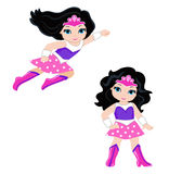 Cute Girl superhero in flight and in standing position Royalty Free Stock Photography