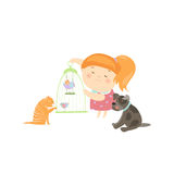 Cute Girl Surrounded by Different Types of Pets Royalty Free Stock Photography