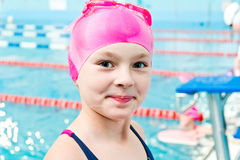 Cute girl in swimming pool Royalty Free Stock Images