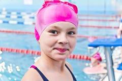 Cute girl in swimming pool Stock Photo