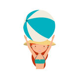 Cute girl with swimwear. Illustration design Stock Photos