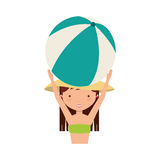 Cute girl with swimwear. Illustration design Royalty Free Stock Photos