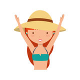Cute girl with swimwear. Illustration design Stock Images