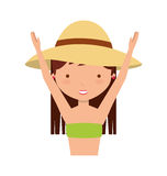 Cute girl with swimwear. Illustration design Royalty Free Stock Photo