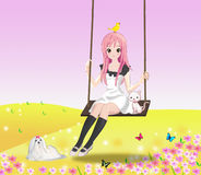 Cute girl on the swing. Cute 2d girl on the swing with her cat and other animals Stock Images